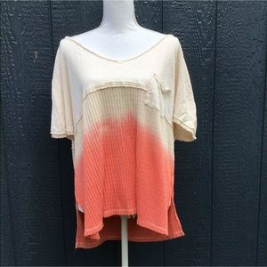 Free People Cream & Pink Ombre Vneck Short Sleeve
